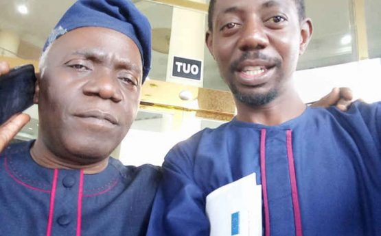 L-R: Femi Falana (SAN) and Executive Diretor of Electoral College, Abuja, Kunle Lawal